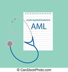 AML Acute Myeloid Leukemia written in notebook