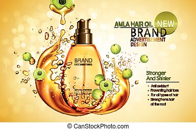 amla hair oil contained in golden bottle with amla elements,...