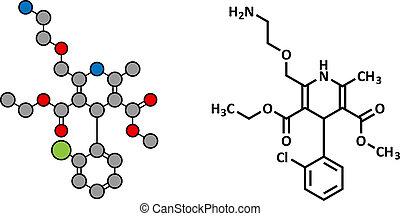 Amlodipine hypertension (high blood pressure) drug, chemical structure.