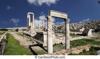 old roman Citadel Hill, Jordan - Amman city landmarks-- old...