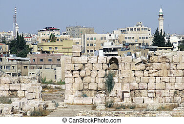 amman, el, capital, de, jordania, y, el, casas