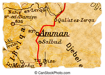 Amman old map - Amman, capital of Jordan on an old torn map...
