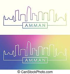 Amman skyline. Colorful linear style.