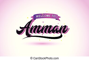Amman Welcome to Creative Text Handwritten Font with Purple Pink Colors Design.