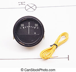 Ammeter and electric wire on a background of the electric scheme