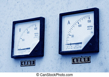 ammeter and voltmeter in a machinery at a construction site