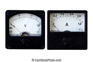 Ammeter and voltmeter - Vintage analogue ammeter and...