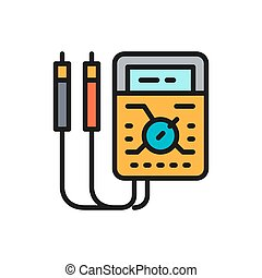 Vector ammeter, digital multimeter, electrical tool, voltmeter flat color icon. Symbol and sign illustration design. Isolated on white background