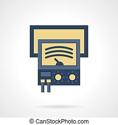 Ammeter flat color vector icon - Blue ammeter with yellow...