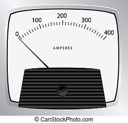 Pointer instrument for measuring the strength of the current. Vector illustration.