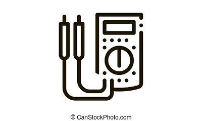 ammeter tool Icon Animation. black ammeter tool animated icon on white background