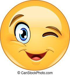ammiccamento, faccia, emoticon