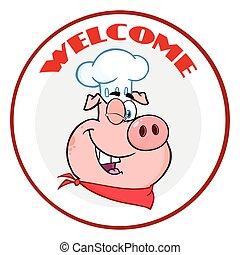 ammiccamento, testo, benvenuto, carattere, maiale, chef, cerchio, bandiera, cartone animato, mascotte