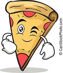 ammicco, faccia, carattere, cartone animato, pizza