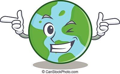 ammicco, globo, carattere, cartone animato, mondo