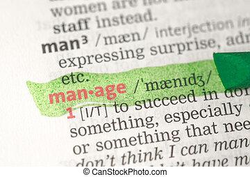 amministrare, definizione, evidenziato, in, verde