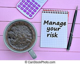 amministrare, parole, rischio, quaderno, tuo