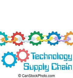 amministrazione, catena, fornitura, tecnologia, ingranaggi, bordo