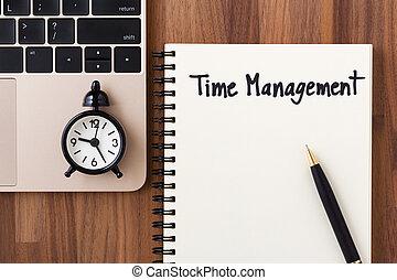 amministrazione, concetto, computer, orologio tempo