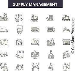 amministrazione, contorno, fornitura, set, affari, icone, illustration:, vector., segni, linea, concetto