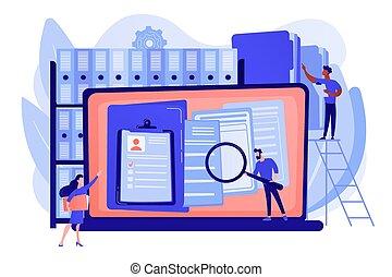 amministrazione, dischi, vettore, concetto, illustrazione