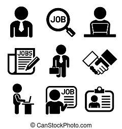 amministrazione, icone, set., affari, lavoro, vettore, risorse umane
