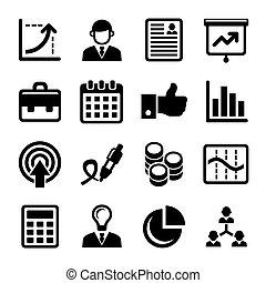 amministrazione, icone, set., affari, vettore, risorse umane