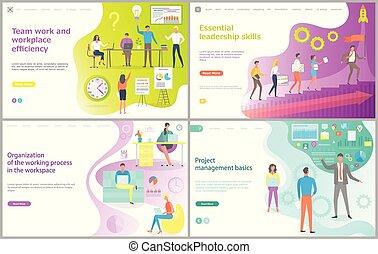 amministrazione, progetto, e, lavoro squadra, pagina del web, vettore