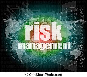 amministrazione, rischio, schermo, parole, digitale, concept: