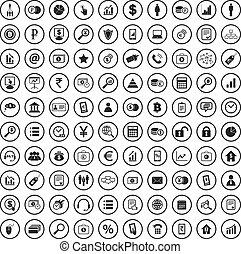 amministrazione, segno, icone, set