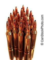 ammo - ammunition all in a bunch on a white background