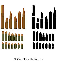 Ammunition for various types of small arms. The illustration on a white background.
