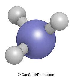 Ammonia (NH3), molecular model. Atoms are represented as...