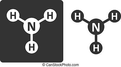 Ammonia (NH3) molecule, flat icon style. Atoms shown as circles.