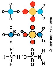 Ammonium sulfamate herbicide (weed killer) molecule.