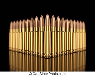 Ammunition - Cartridges on black reflective background
