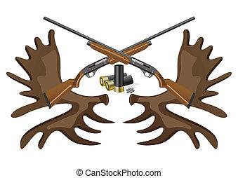 Ammunition, guns and horns. - Hunting rifles and ammunition...