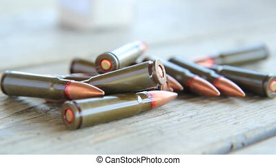 Ammunition. - Handheld shot of Russian carbine ammunition....