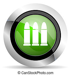 ammunition icon, green button, weapoon sign