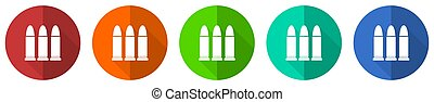 Ammunition icon set, red, blue, green and orange flat design web buttons isolated on white background, vector illustration