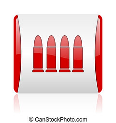 ammunition red and white square web glossy icon
