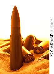 ammunition - different ammunition scatter in sand, detail...