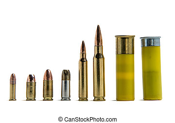 Ammunition - Several different shells lined up for size...