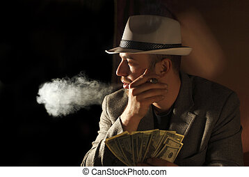 amn smoke and hold few dollars in his hand - classic ...