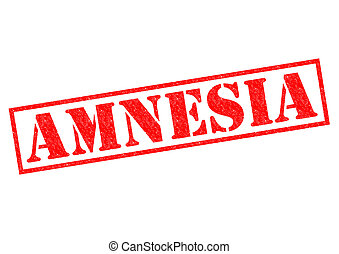 AMNESIA red Rubber Stamp over a white background.