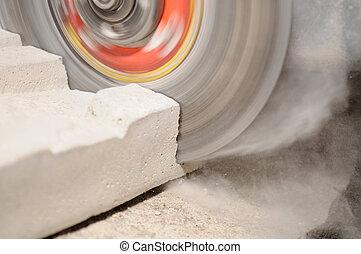amoladora, corte, bloque concreto