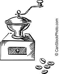 amoladora, granos de café, molino