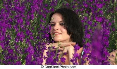 Among beautiful flower girl