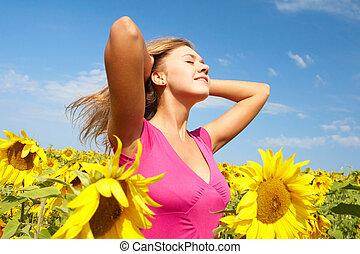 Among sunflowers