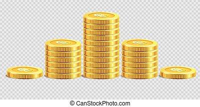 amontoados, dourado, ouro, pilhas, dinheiro, moedas, vetorial, fundo, moeda, transparente, banco